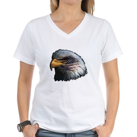 American Flag Eagle Women's V-Neck T-Shirt