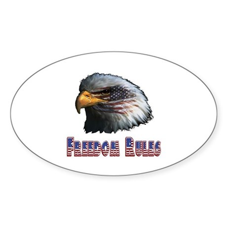 Freedom Rules Eagle Oval Sticker