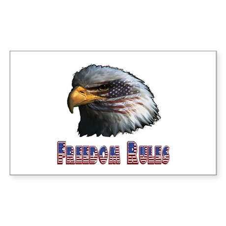 Freedom Rules Eagle Rectangle Sticker