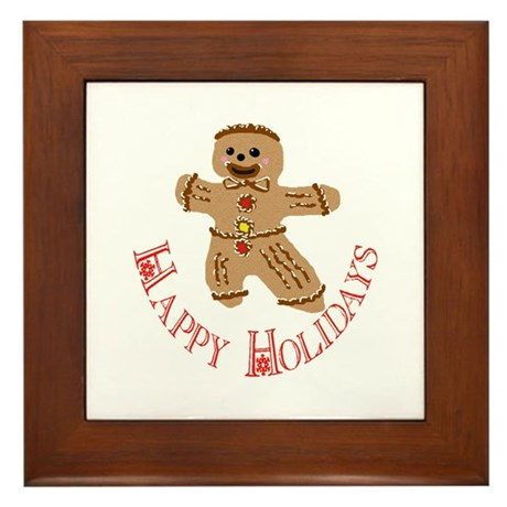Gingerbread Man Framed Tile