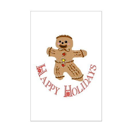 Gingerbread Man Mini Poster Print