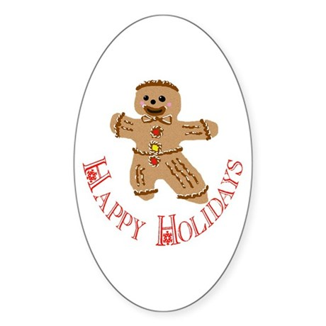 Gingerbread Man Oval Sticker