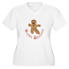 Gingerbread Man Women's Plus Size V-Neck T-Shirt