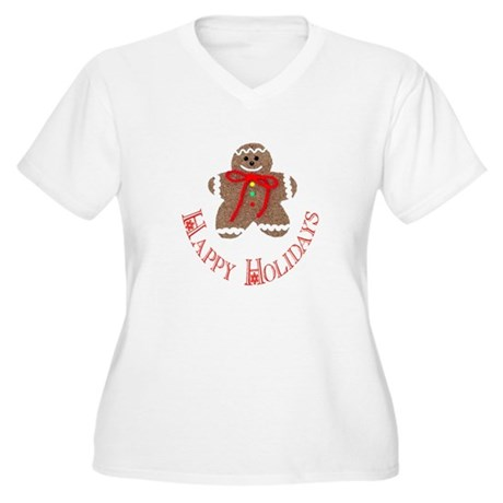 Gingerbread Holidays Women's Plus Size V-Neck T-Sh