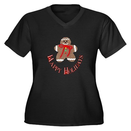 Gingerbread Holidays Women's Plus Size V-Neck Dark