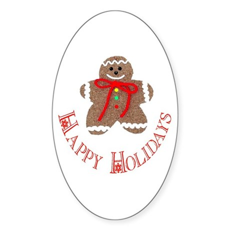 Gingerbread Holidays Oval Sticker