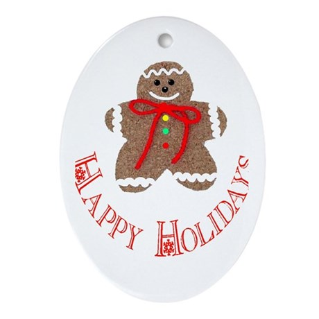 Gingerbread Holidays Oval Ornament