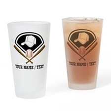 Custom Name/Text Baseball Gear Drinking Glass