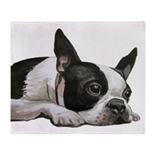 Cute Boston terrier Throw Blanket