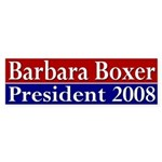 Barbara Boxer for President (car sticker)