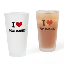 I Love Postmarks Drinking Glass