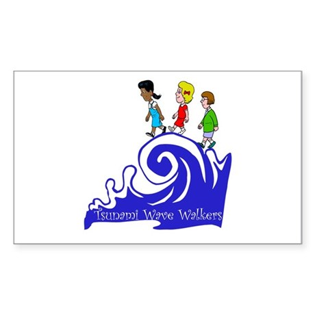 Tsunami Wave Walkers Rectangle Sticker