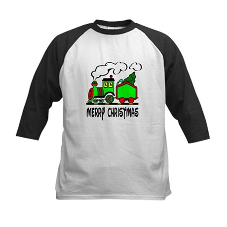 Christmas Train Kids Baseball Jersey