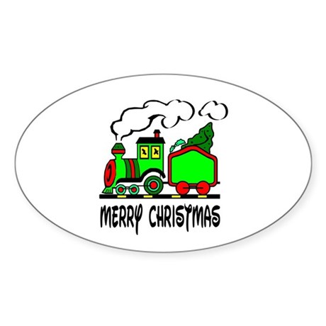 Christmas Train Oval Sticker