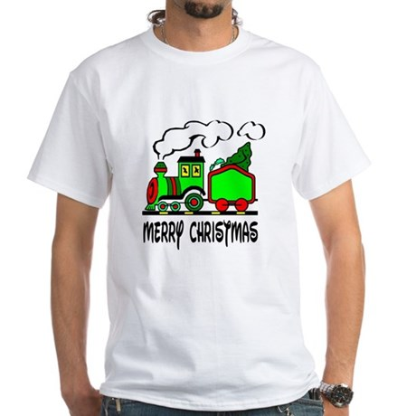 Christmas Train White T-Shirt