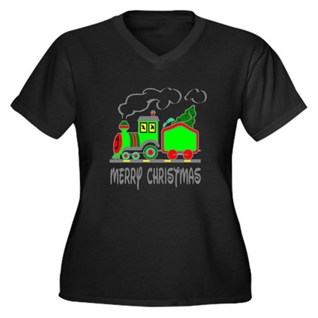 Christmas Train Women's Plus Size V-Neck Dark T-Sh