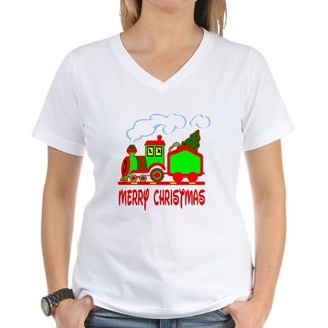 Christmas Train Women's V-Neck T-Shirt