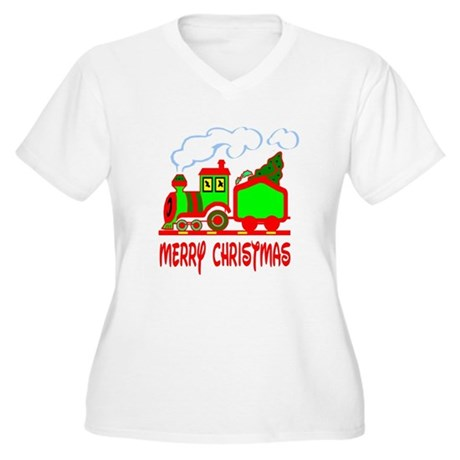 Christmas Train Women's Plus Size V-Neck T-Shirt