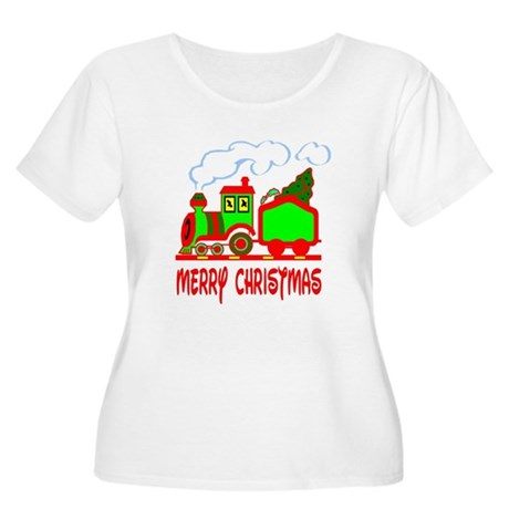 Christmas Train Women's Plus Size Scoop Neck T-Shi