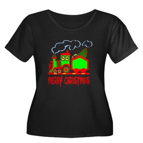 Christmas Train Women's Plus Size Scoop Neck Dark
