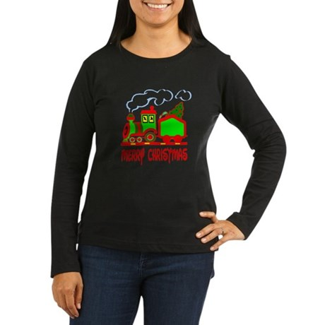 Christmas Train Women's Long Sleeve Dark T-Shirt