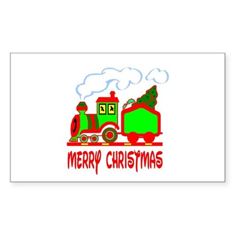 Christmas Train Rectangle Sticker