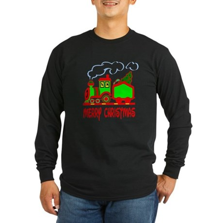 Christmas Train Long Sleeve Dark T-Shirt