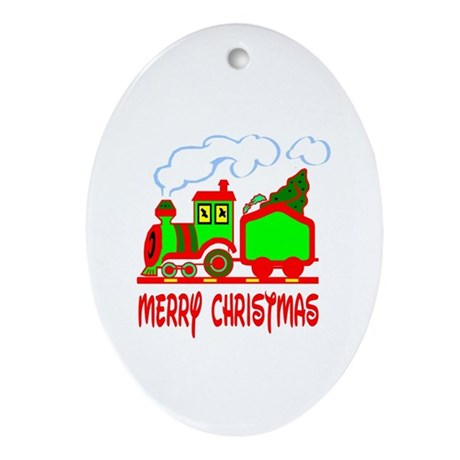 Christmas Train Oval Ornament