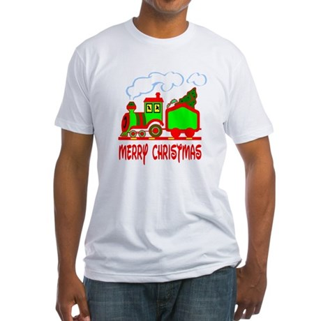 Christmas Train Fitted T-Shirt