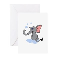 BABY ELEPHANT IN WATER Greeting Cards