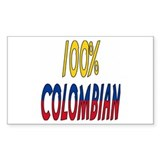 100% Colombian Rectangle Stickers