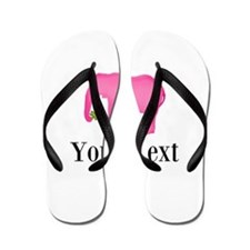 Personalizable Pink Elephant With Clover Flip Flop