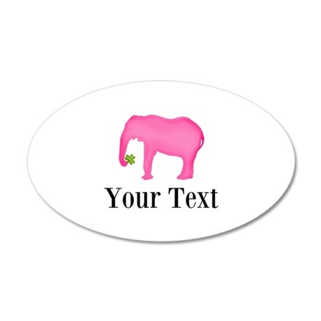 Personalizable Pink Elephant With Clover Wall Deca