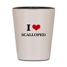 I Love Scalloped Shot Glass