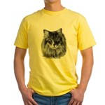 Long-Haired Gray Cat Yellow T-Shirt