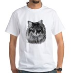 Long-Haired Gray Cat White T-Shirt