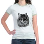Long-Haired Gray Cat Jr. Ringer T-Shirt