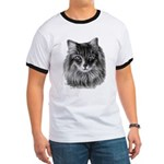 Long-Haired Gray Cat Ringer T