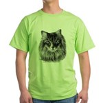 Long-Haired Gray Cat Green T-Shirt