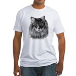 Long-Haired Gray Cat Fitted T-Shirt