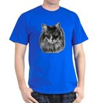 Long-Haired Gray Cat Dark T-Shirt