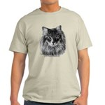 Long-Haired Gray Cat Light T-Shirt