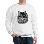 Long-Haired Gray Cat Sweatshirt