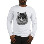 Long-Haired Gray Cat Long Sleeve T-Shirt