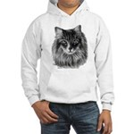 Long-Haired Gray Cat Hooded Sweatshirt