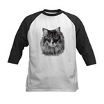 Long-Haired Gray Cat Kids Baseball Jersey