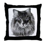 Long-Haired Gray Cat Throw Pillow
