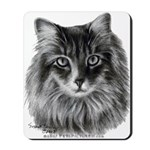Long-Haired Gray Cat Mousepad