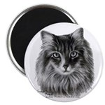 Long-Haired Gray Cat Magnet