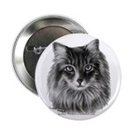Long-Haired Gray Cat Button